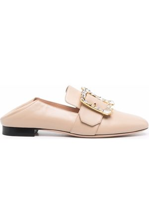 Bally Buckle strap foldable heel loafers