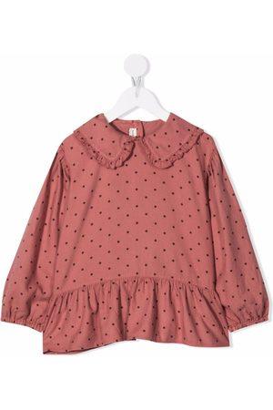 Babe And Tess Polka-dot ruffled collar blouse