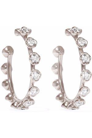 ANNOUSHKA 18kt white gold Marguerite diamond hoop earrings