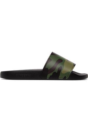 Burberry Beige & Black Camouflage Print Slides