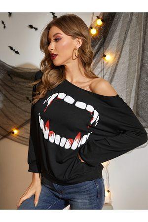 Yoins Halloween Black Round Neck Graphic Long Sleeves Top