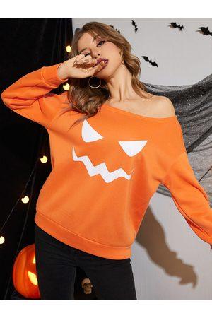 Yoins Halloween Cartoon Pumpkin Face Print One Shoulder Sweatshirt