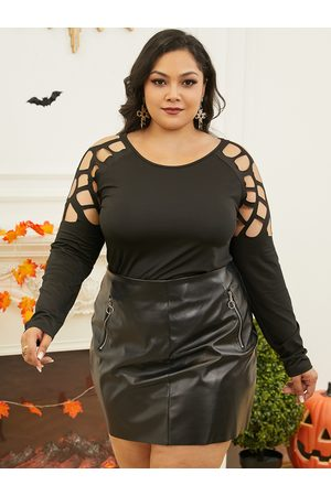 Yoins Plus Size Cut Out Long Sleeves Tee