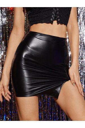 Yoins Faux Leather Super Stretch Mini Skirt