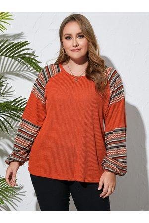 Yoins Plus Size Tribal Waffle Knit Patchwork Design Long Sleeves Knitwear