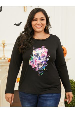 Yoins Women Long Sleeve - Plus Size Round Neck Graphic Long Sleeves Tee