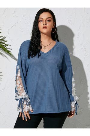 Yoins Plus Size V-neck Mesh Patchwork Design Long Sleeves Knitwear