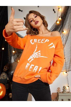 Yoins Halloween Letter & Cartoon Print One Shoulder Sweatshirt