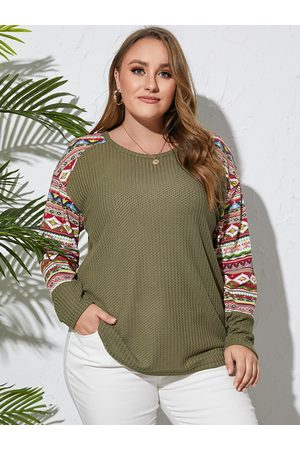 Yoins Plus Size Round Neck Tribal Patchwork Design Long Sleeves Knitwear