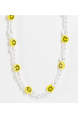 Pieces Exclusive beaded pearl and face necklace in multi
