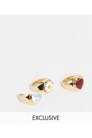 Pieces Exclusive 3 pack mixed signet rings in