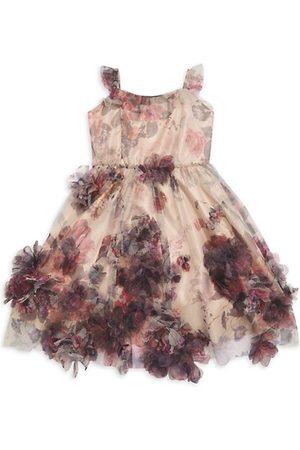 Marchesa Girls Printed Dresses - Little Girl's & Girl's Organza Floral Print Flower Appliqué Dress