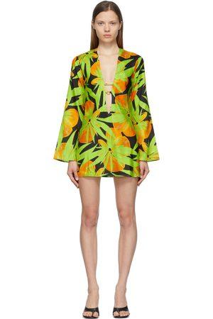 Louisa Ballou Black & Green Deep V-Neck Kaftan Dress
