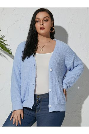 YOINS Plus Size Knit Front Button Long Sleeves Cardigan
