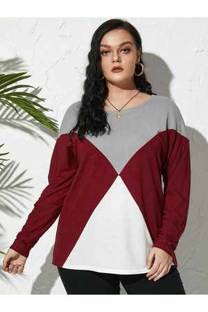 YOINS Plus Size Round Neck Color Block Long Sleeves Tee