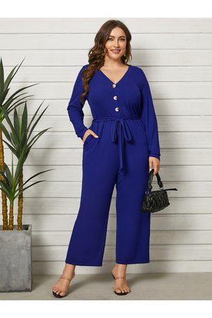 YOINS Plus Size Belt Design Side Pocket Long Sleeves Jumpsuit