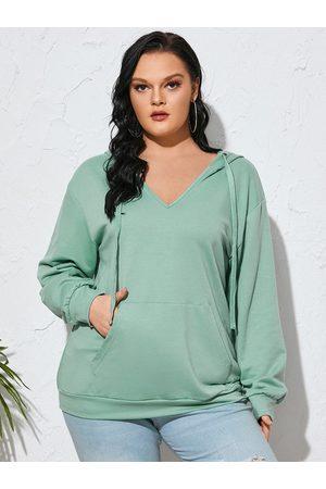 YOINS Plus Size V-neck Drawstring Hooded Design Pocket Long Sleeves Sweatshirt