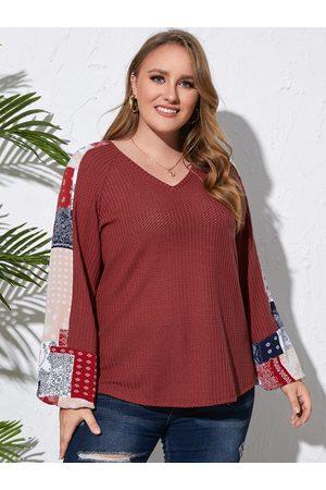 YOINS Plus Size V-neck Tribal Waffle Knit Long Sleeves Sweater