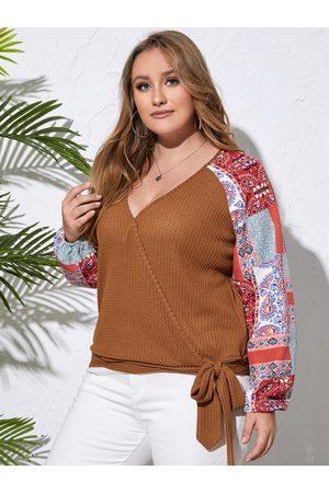 YOINS Plus Size Deep V Neck Tribal Tie-up Design Sweater