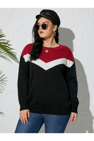 YOINS Plus Size Crew Neck Patchwork Knit Long Sleeves Sweater