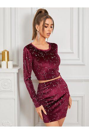 YOINS Burgundy Round Neck Star Glitter Long Sleeve Top & Mini Skirt Set
