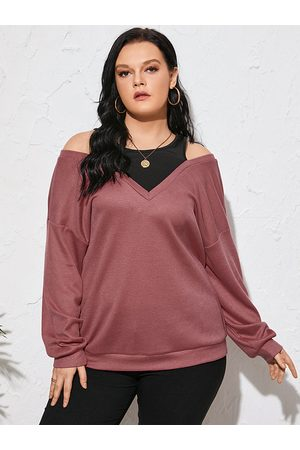 YOINS Plus Size Cold Shoulder Long Sleeves Knitwear