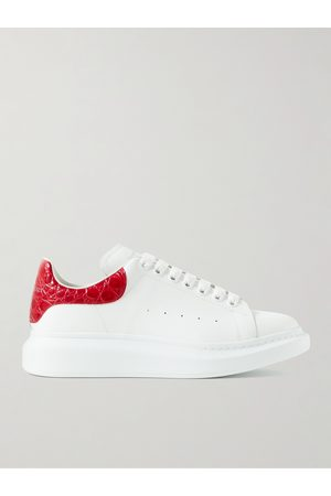 Alexander McQueen Exaggerated-Sole Croc-Effect Trimmed Leather Sneakers
