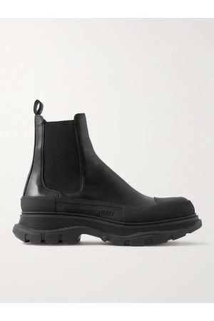 Alexander McQueen Exaggerated-Sole Leather Chelsea Boots