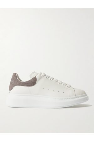 Alexander McQueen Men Sneakers - Exaggerated-Sole Croc-Effect Suede-Trimmed Leather Sneakers