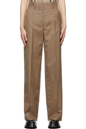 Burberry Taupe Wool Jane Wide-Leg Trousers