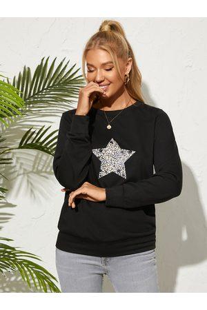 YOINS Leopard Star Print Crew Neck Sweatshirt
