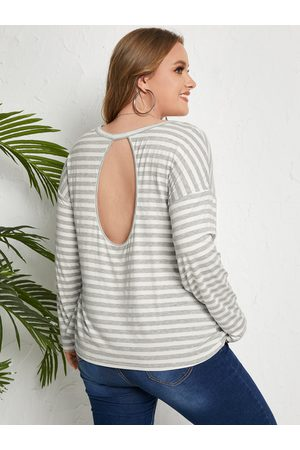 YOINS Plus Size Striped Backless Design Cut Out Long Sleeves Tee
