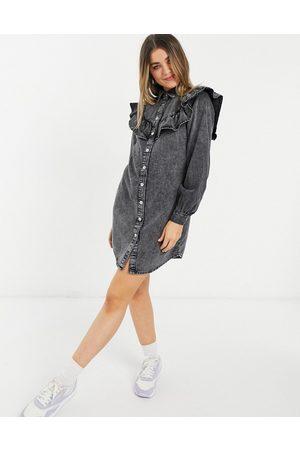 New Look Women Casual Dresses - Denim ruffle shirt dress in