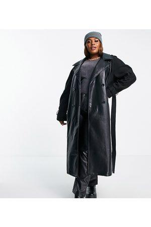 ASOS ASOS DESIGN Curve faux leather spliced coat in black