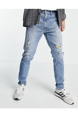 Abercrombie & Fitch 90s slim fit distressed jeans in light destroy