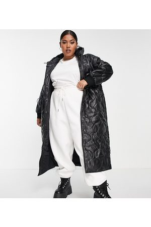 ASOS Curve ASOS DESIGN Curve faux leather quilted hooded puffer coat in