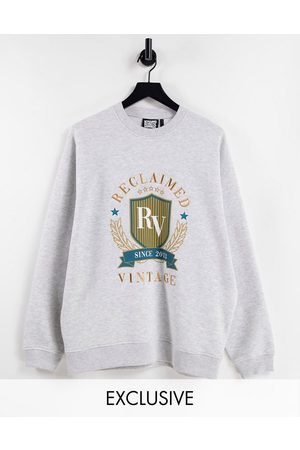 Reclaimed Vintage Inspired unisex oversized sweatshirt with varsity embroidery in marl