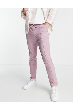 ASOS DESIGN Slim chinos with pin tucks and elasticated waist in