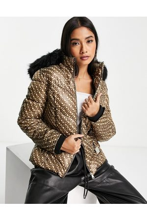 River Island Monogram padded belted jacket with faux fur hood in