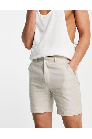 ASOS DESIGN Men Shorts - Super skinny suit shorts in stone cotton linen-Neutral