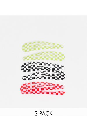 Monki Marcy 3 pack hairclips in multi checkerboard