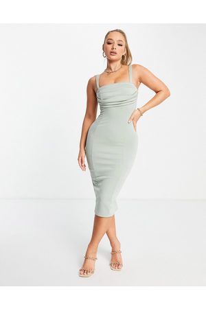 ASOS DESIGN Corset pencil midi dress with ruched bust in sage