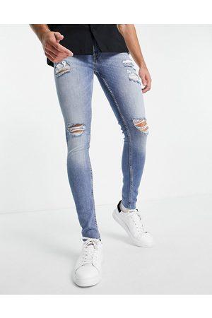 jack & jones Intelligence Tom super skinny jeans in midwash -Navy