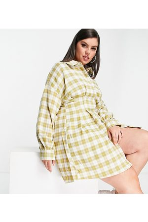 Missguided Plus Shirt dress with pleated waist in check