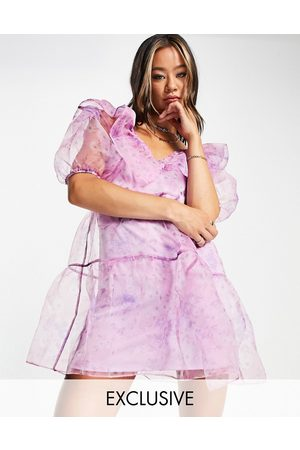 Reclaimed Vintage Inspired organza mini dress with puff sleeves in lilac floral