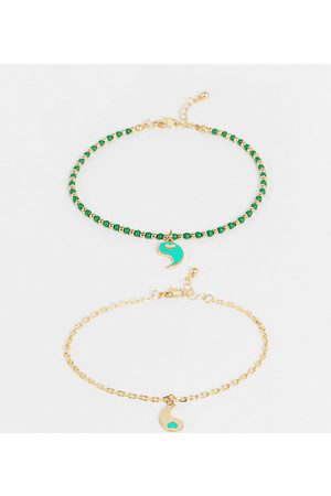 Reclaimed Vintage Inspired unisex 90's anklet with yin yang charms in and green