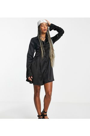 Reclaimed Vintage Women Casual Dresses - Inspired shirt dress in satin with tie waist detail in black