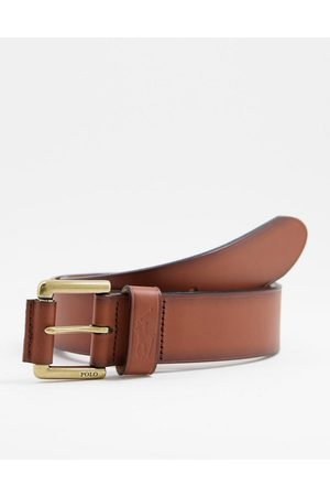 Polo Ralph Lauren Leather belt in tan with pony logo-Neutral