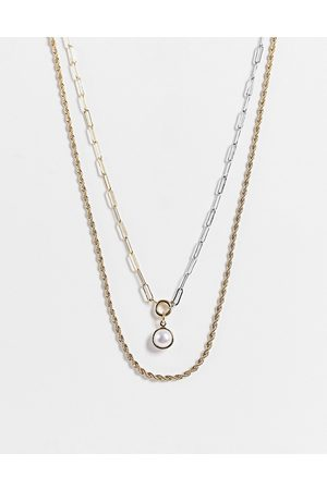 Liars & Lovers Women Necklaces - Chain and pearly multi row necklace in and silver