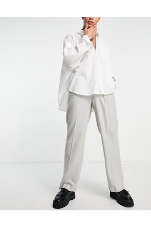 ASOS DESIGN High waist wide leg wool mix suit trouser in ice twill